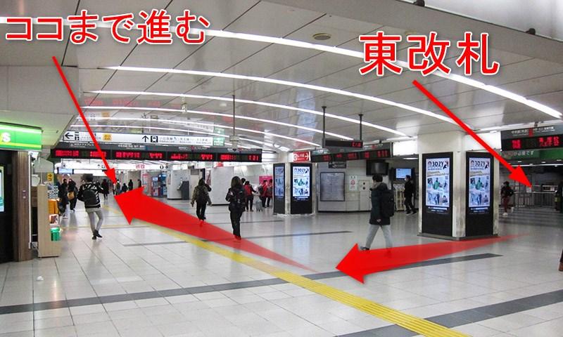 JR新宿駅の東口(東改札・中央東改札)から南口(東南改札・南改札)への行き方